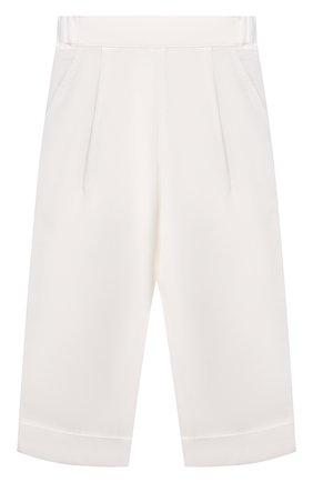 Детские брюки из вискозы BRUNELLO CUCINELLI белого цвета, арт. BH126P014B | Фото 1 (Материал внешний: Вискоза; Девочки Кросс-КТ: Брюки-одежда; Ростовка одежда: 10 - 11 лет | 140 - 146см, 8 лет | 128 см)