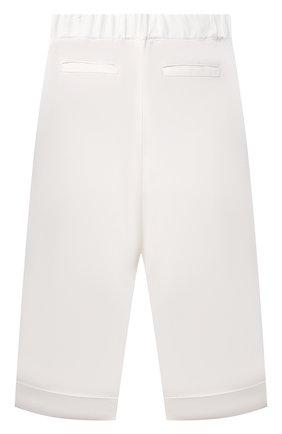 Детские брюки из вискозы BRUNELLO CUCINELLI белого цвета, арт. BH126P014B | Фото 2 (Материал внешний: Вискоза; Девочки Кросс-КТ: Брюки-одежда; Ростовка одежда: 10 - 11 лет | 140 - 146см, 8 лет | 128 см)