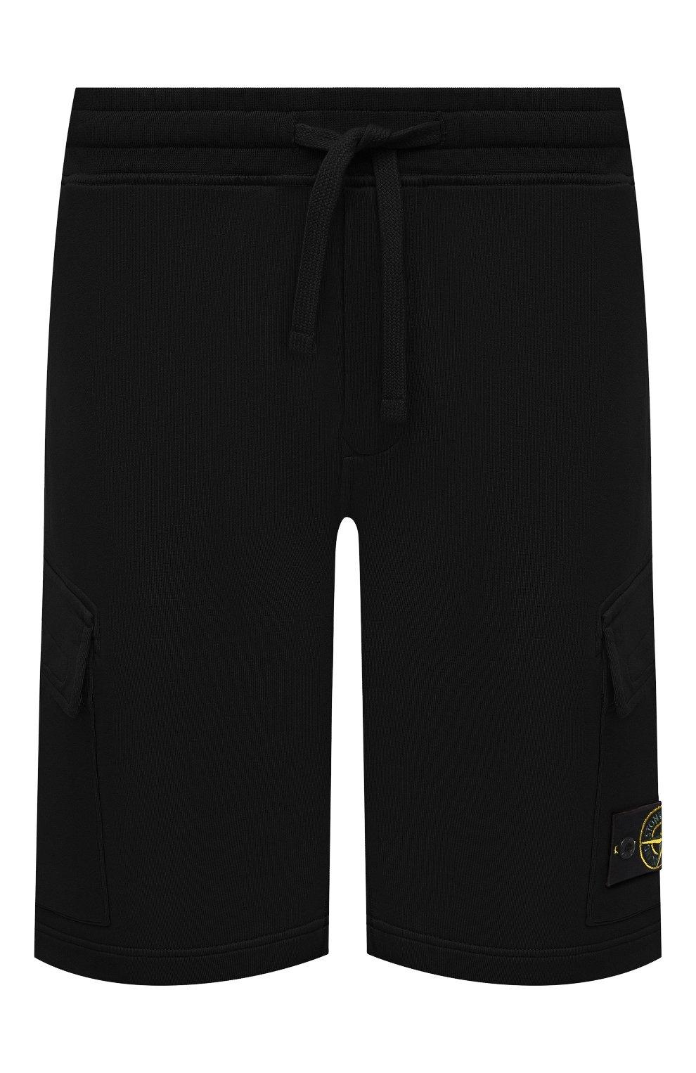 Мужские хлопковые шорты STONE ISLAND черного цвета, арт. 741565651   Фото 1 (Длина Шорты М: До колена; Принт: Без принта; Кросс-КТ: Трикотаж; Материал внешний: Хлопок; Стили: Спорт-шик)
