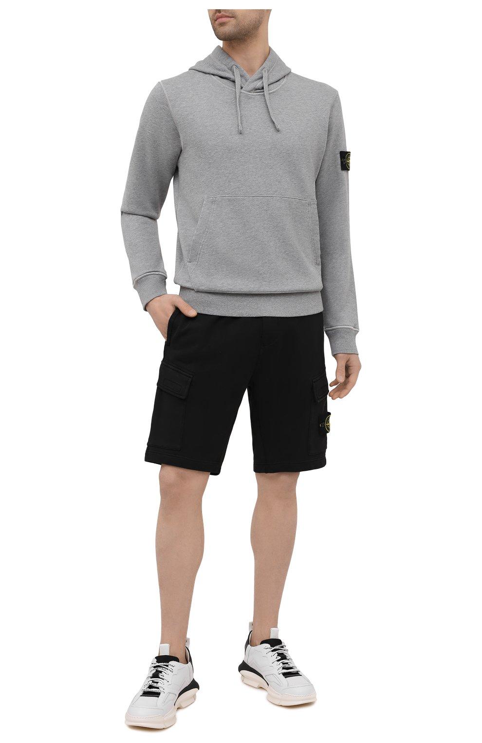 Мужские хлопковые шорты STONE ISLAND черного цвета, арт. 741565651   Фото 2 (Длина Шорты М: До колена; Принт: Без принта; Кросс-КТ: Трикотаж; Материал внешний: Хлопок; Стили: Спорт-шик)