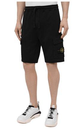 Мужские хлопковые шорты STONE ISLAND черного цвета, арт. 741565651   Фото 3 (Длина Шорты М: До колена; Принт: Без принта; Кросс-КТ: Трикотаж; Материал внешний: Хлопок; Стили: Спорт-шик)