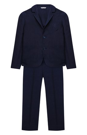 Детский костюм из льна и хлопка DOLCE & GABBANA синего цвета, арт. L41U74/G7WSI/8-14 | Фото 1