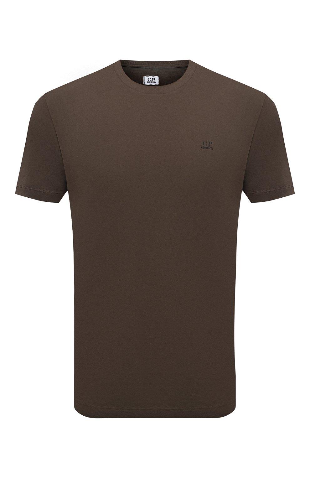 Мужская хлопковая футболка C.P. COMPANY хаки цвета, арт. 10CMTS037A-005100W   Фото 1 (Рукава: Короткие; Длина (для топов): Стандартные; Принт: С принтом; Материал внешний: Хлопок; Стили: Кэжуэл)