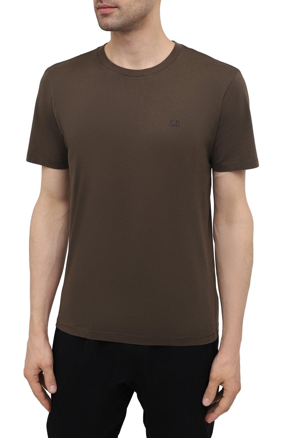 Мужская хлопковая футболка C.P. COMPANY хаки цвета, арт. 10CMTS037A-005100W   Фото 3 (Рукава: Короткие; Длина (для топов): Стандартные; Принт: С принтом; Материал внешний: Хлопок; Стили: Кэжуэл)
