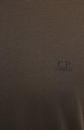 Мужская хлопковая футболка C.P. COMPANY хаки цвета, арт. 10CMTS037A-005100W   Фото 5 (Рукава: Короткие; Длина (для топов): Стандартные; Принт: С принтом; Материал внешний: Хлопок; Стили: Кэжуэл)