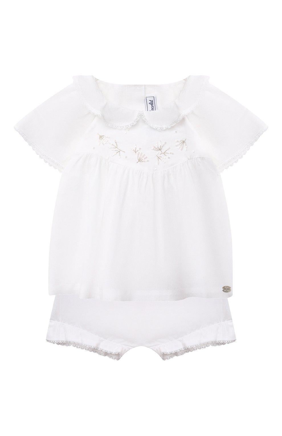 Детский комплект из топа и шорт TARTINE ET CHOCOLAT белого цвета, арт. TS37011/1M-9M | Фото 1
