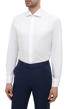 Мужская хлопковая сорочка LUIGI BORRELLI белого цвета, арт. EV08/ACHILLE/S10701 | Фото 3 (Манжеты: На пуговицах; Рукава: Длинные; Воротник: Акула; Длина (для топов): Стандартные; Рубашки М: Slim Fit; Материал внешний: Хлопок; Стили: Классический; Случай: Формальный; Принт: Однотонные)