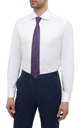 Мужская хлопковая сорочка LUIGI BORRELLI белого цвета, арт. EV08/ACHILLE/S10701 | Фото 4 (Манжеты: На пуговицах; Рукава: Длинные; Воротник: Акула; Длина (для топов): Стандартные; Рубашки М: Slim Fit; Материал внешний: Хлопок; Стили: Классический; Случай: Формальный; Принт: Однотонные)