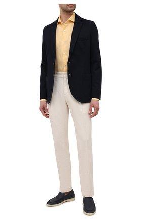 Мужская льняная рубашка LUIGI BORRELLI желтого цвета, арт. EV08/NAND0/S31045   Фото 2