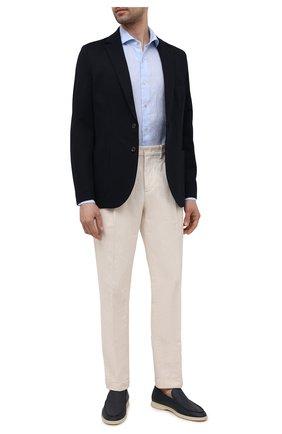 Мужская льняная рубашка LUIGI BORRELLI голубого цвета, арт. EV08/NAND0/S31045 | Фото 2