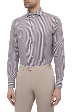 Мужская хлопковая сорочка LUIGI BORRELLI коричневого цвета, арт. EV08/FELICE/S31147 | Фото 3 (Манжеты: На пуговицах; Рукава: Длинные; Воротник: Акула; Принт: Полоска; Длина (для топов): Стандартные; Рубашки М: Slim Fit; Материал внешний: Хлопок; Стили: Классический; Случай: Формальный)