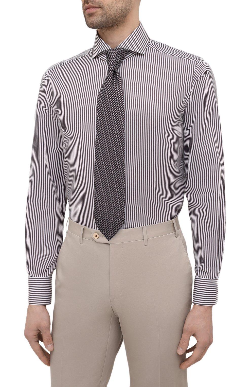Мужская хлопковая сорочка LUIGI BORRELLI коричневого цвета, арт. EV08/FELICE/S31147 | Фото 4 (Манжеты: На пуговицах; Рукава: Длинные; Воротник: Акула; Принт: Полоска; Длина (для топов): Стандартные; Рубашки М: Slim Fit; Материал внешний: Хлопок; Стили: Классический; Случай: Формальный)