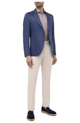 Мужская хлопковая сорочка LUIGI BORRELLI коричневого цвета, арт. EV08/NAND0/S31166   Фото 2