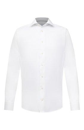 Мужская хлопковая сорочка ETON белого цвета, арт. 1000 03006 | Фото 1 (Принт: Однотонные; Рукава: Длинные; Случай: Формальный; Стили: Классический; Материал внешний: Хлопок; Манжеты: На пуговицах; Рубашки М: Regular Fit; Воротник: Акула; Длина (для топов): Стандартные)