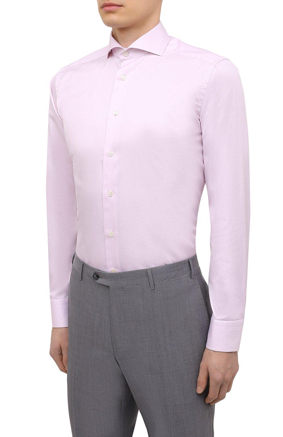 Мужская хлопковая сорочка ETON розового цвета, арт. 1000 02645   Фото 3 (Манжеты: На пуговицах; Рукава: Длинные; Воротник: Акула; Длина (для топов): Стандартные; Рубашки М: Slim Fit; Материал внешний: Хлопок; Стили: Классический, Романтичный; Случай: Формальный; Принт: Однотонные)