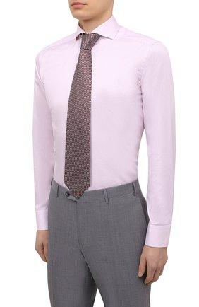 Мужская хлопковая сорочка ETON розового цвета, арт. 1000 02645   Фото 4 (Манжеты: На пуговицах; Рукава: Длинные; Воротник: Акула; Длина (для топов): Стандартные; Рубашки М: Slim Fit; Материал внешний: Хлопок; Стили: Классический, Романтичный; Случай: Формальный; Принт: Однотонные)