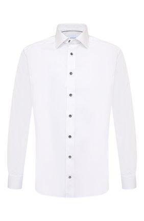 Мужская хлопковая сорочка ETON белого цвета, арт. 1000 02645 | Фото 1 (Материал внешний: Хлопок; Рукава: Длинные; Рубашки М: Slim Fit; Манжеты: На пуговицах; Воротник: Акула; Случай: Формальный; Принт: Однотонные; Стили: Классический; Длина (для топов): Стандартные)