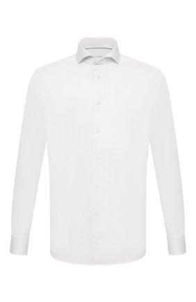 Мужская хлопковая сорочка ETON белого цвета, арт. 1000 02195 | Фото 1 (Материал внешний: Хлопок; Случай: Формальный; Рубашки М: Regular Fit; Принт: Однотонные; Стили: Классический; Рукава: Длинные; Манжеты: На пуговицах; Воротник: Акула; Длина (для топов): Стандартные)