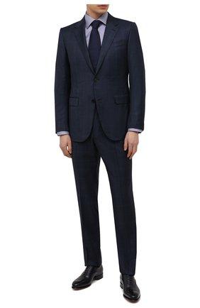 Мужская хлопковая сорочка ETON синего цвета, арт. 1000 02057 | Фото 2 (Материал внешний: Хлопок; Случай: Формальный; Принт: Однотонные; Рукава: Длинные; Манжеты: На пуговицах; Рубашки М: Slim Fit; Стили: Классический; Воротник: Акула; Длина (для топов): Стандартные)