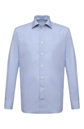 Мужская сорочка из хлопка и льна ETON голубого цвета, арт. 1000 02304 | Фото 1 (Длина (для топов): Стандартные; Принт: Клетка; Стили: Классический; Случай: Формальный; Материал внешний: Хлопок; Воротник: Акула; Манжеты: На пуговицах; Рубашки М: Regular Fit; Рукава: Длинные)