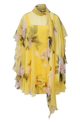 Женское шелковое платье VALENTINO желтого цвета, арт. VB0VAVZ56DM   Фото 1 (Длина Ж (юбки, платья, шорты): Мини; Стили: Романтичный; Случай: Коктейльный; Рукава: Короткие; Материал внешний: Шелк; Женское Кросс-КТ: Платье-одежда; Материал подклада: Шелк)