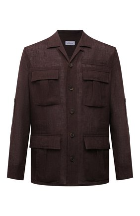 Мужская льняная куртка-рубашка BRIONI темно-коричневого цвета, арт. SLRP0L/P9111 | Фото 1