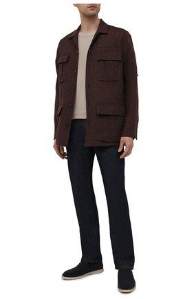 Мужская льняная куртка-рубашка BRIONI темно-коричневого цвета, арт. SLRP0L/P9111 | Фото 2