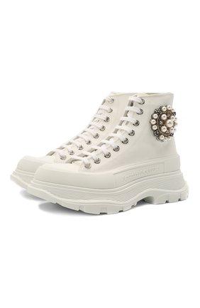 Женские текстильные ботинки tread slick ALEXANDER MCQUEEN белого цвета, арт. 652280/W4L3K | Фото 1 (Материал внутренний: Натуральная кожа; Материал внешний: Текстиль; Женское Кросс-КТ: Хайкеры-ботинки; Подошва: Платформа; Каблук высота: Низкий)