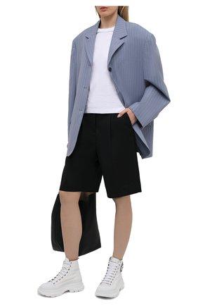 Женские текстильные ботинки tread slick ALEXANDER MCQUEEN белого цвета, арт. 652280/W4L3K | Фото 2 (Материал внутренний: Натуральная кожа; Материал внешний: Текстиль; Женское Кросс-КТ: Хайкеры-ботинки; Подошва: Платформа; Каблук высота: Низкий)