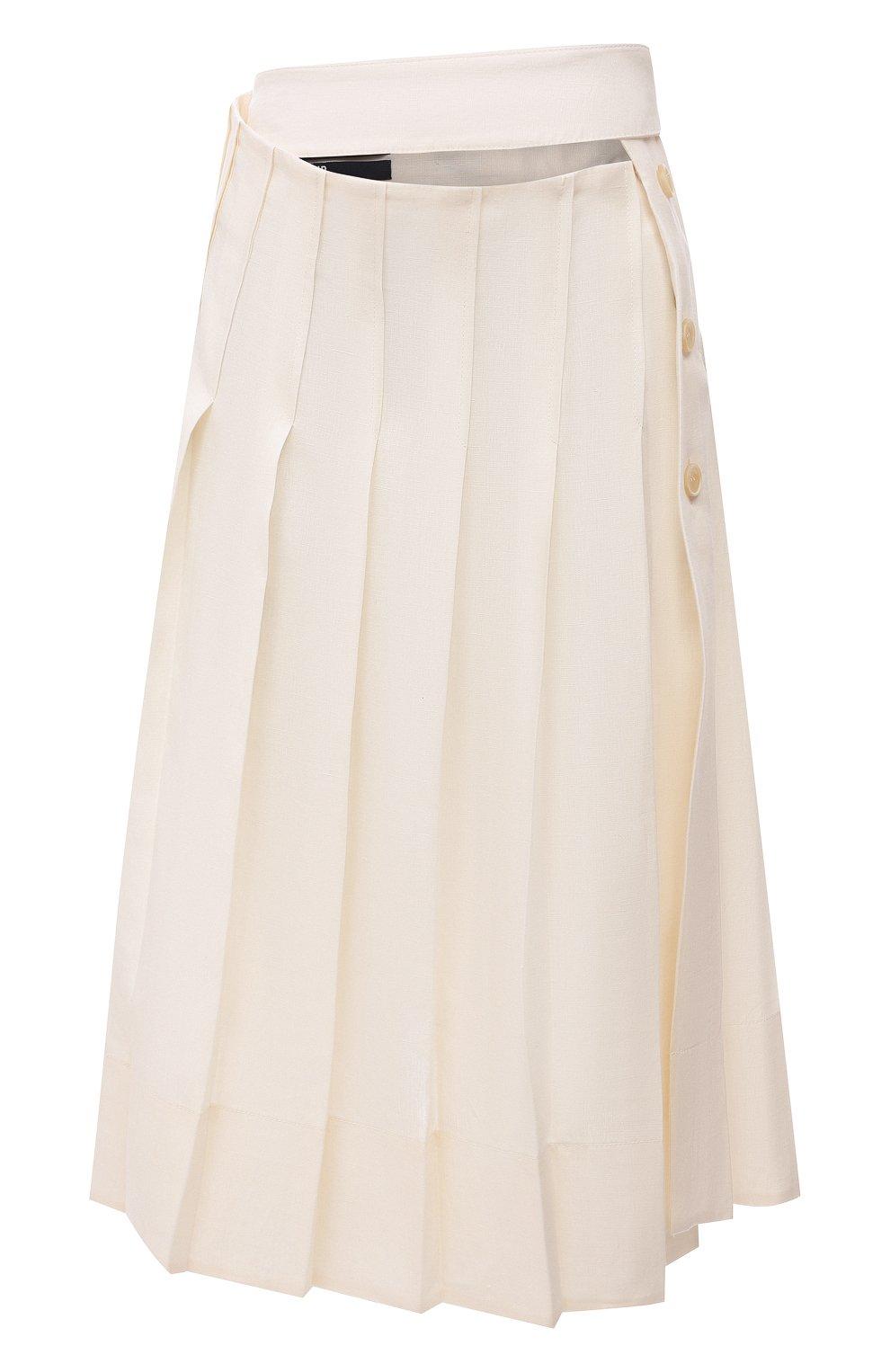 Женская льняная юбка JACQUEMUS кремвого цвета, арт. 211SK05/101110   Фото 1