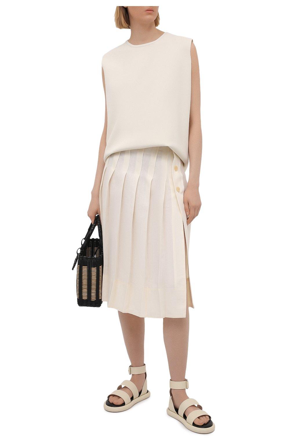 Женская льняная юбка JACQUEMUS кремвого цвета, арт. 211SK05/101110   Фото 2