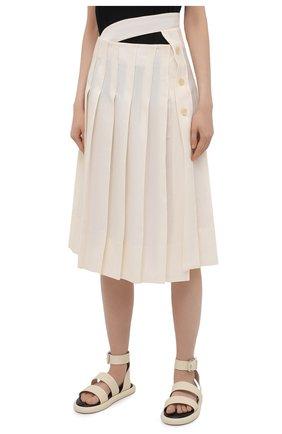 Женская льняная юбка JACQUEMUS кремвого цвета, арт. 211SK05/101110   Фото 3