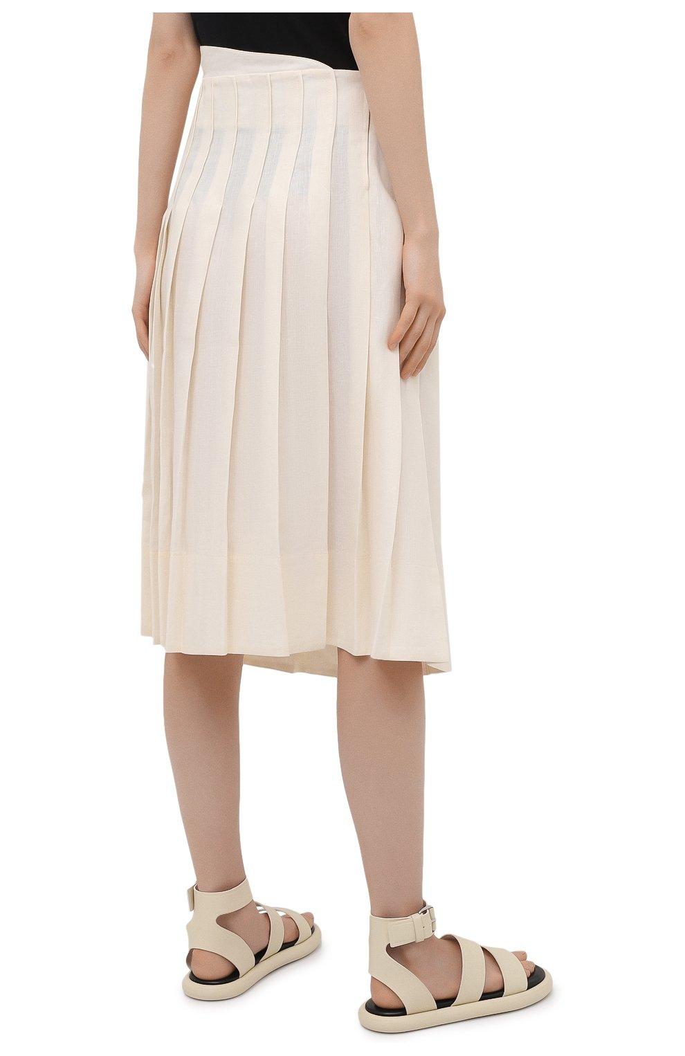 Женская льняная юбка JACQUEMUS кремвого цвета, арт. 211SK05/101110   Фото 4