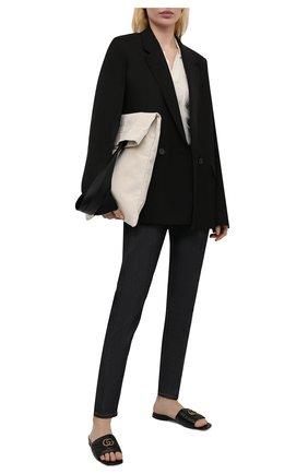 Женские кожаные шлепанцы jolie GUCCI черного цвета, арт. 646169/BK060 | Фото 2 (Подошва: Плоская; Материал внутренний: Натуральная кожа; Каблук высота: Низкий)