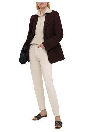 Женские текстильные шлепанцы GUCCI коричневого цвета, арт. 647630/2KQ50 | Фото 2