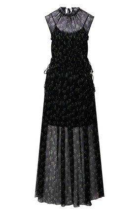 Женское шелковое платье MSGM черного цвета, арт. 3042MDA101 217355 | Фото 1