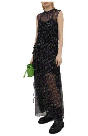 Женское шелковое платье MSGM черного цвета, арт. 3042MDA101 217355 | Фото 2