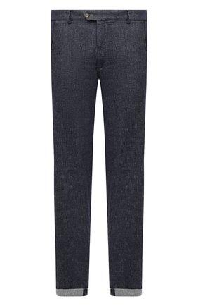Мужские брюки изо льна и хлопка HILTL синего цвета, арт. 71470/60-70   Фото 1