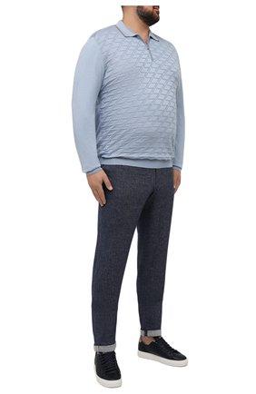 Мужские брюки изо льна и хлопка HILTL синего цвета, арт. 71470/60-70   Фото 2
