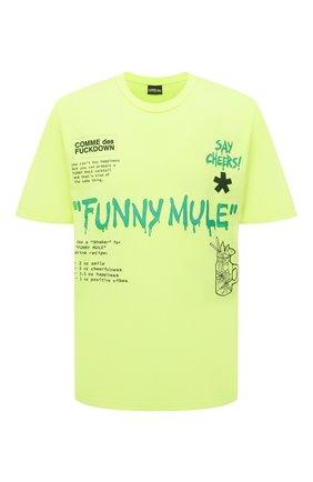 Мужская хлопковая футболка COMME DES FUCKDOWN светло-зеленого цвета, арт. CDFU1144   Фото 1