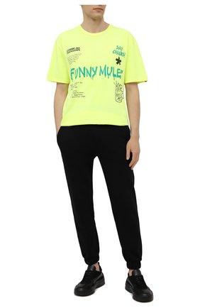 Мужская хлопковая футболка COMME DES FUCKDOWN светло-зеленого цвета, арт. CDFU1144   Фото 2
