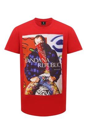Мужская хлопковая футболка DIEGO VENTURINO красного цвета, арт. SS21-DV TS0 HBR | Фото 1