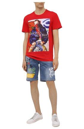 Мужская хлопковая футболка DIEGO VENTURINO красного цвета, арт. SS21-DV TS0 HBR | Фото 2