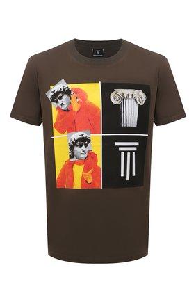 Мужская хлопковая футболка DIEGO VENTURINO хаки цвета, арт. SS21-DV TS0 WAMBDM | Фото 1