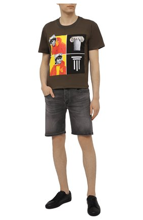 Мужская хлопковая футболка DIEGO VENTURINO хаки цвета, арт. SS21-DV TS0 WAMBDM | Фото 2
