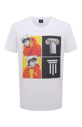 Мужская хлопковая футболка DIEGO VENTURINO белого цвета, арт. SS21-DV TS0 WAMBDM | Фото 1 (Рукава: Короткие; Материал внешний: Хлопок; Длина (для топов): Стандартные)