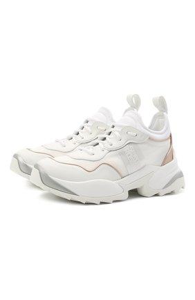 Женские комбинированные кроссовки SERGIO ROSSI белого цвета, арт. A94020-MFI330   Фото 1