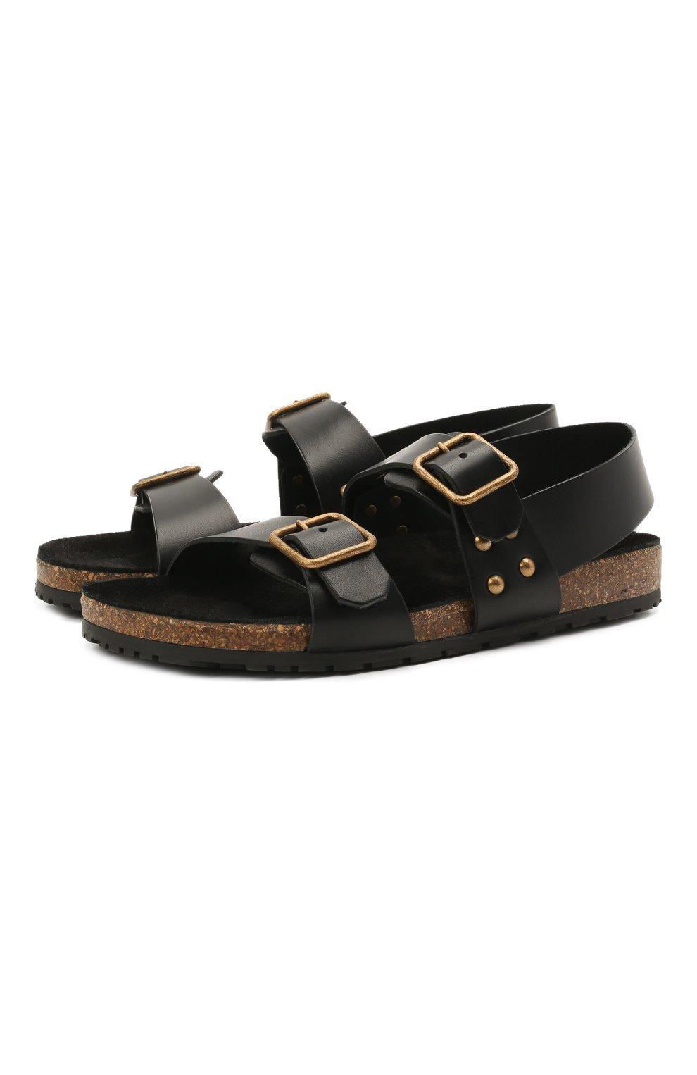 Женские кожаные сандалии jam SAINT LAURENT черного цвета, арт. 649425/12K00 | Фото 1 (Подошва: Платформа; Материал внутренний: Натуральная кожа)