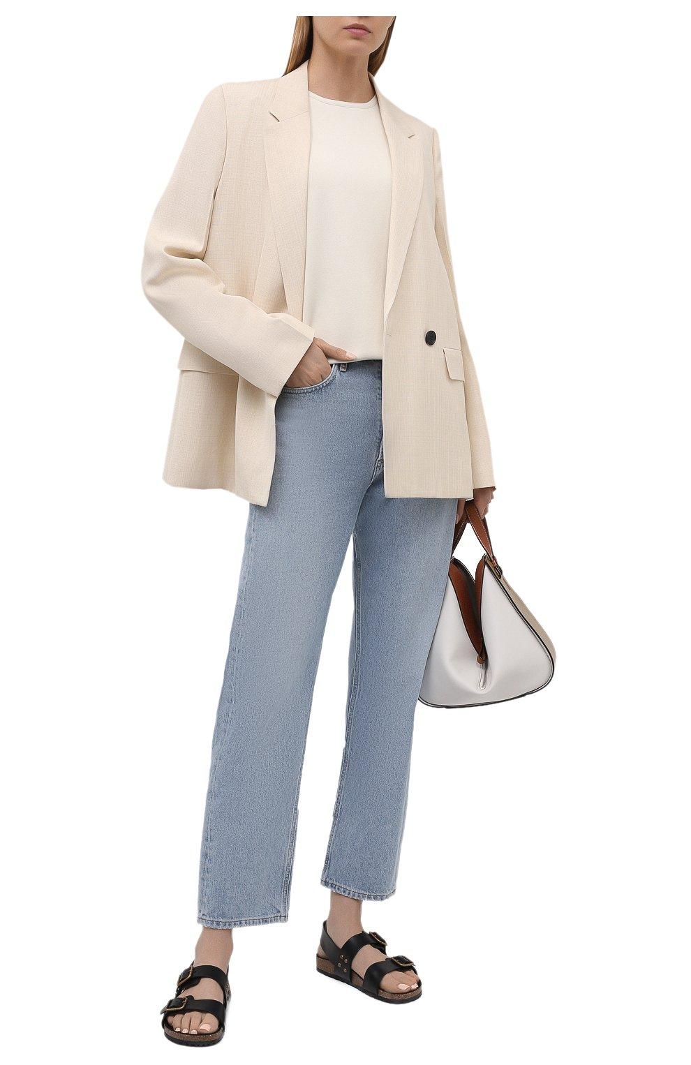 Женские кожаные сандалии jam SAINT LAURENT черного цвета, арт. 649425/12K00 | Фото 2 (Подошва: Платформа; Материал внутренний: Натуральная кожа)