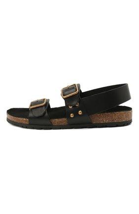 Женские кожаные сандалии jam SAINT LAURENT черного цвета, арт. 649425/12K00 | Фото 3 (Подошва: Платформа; Материал внутренний: Натуральная кожа)